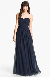 Women's Js Boutique Strapless Ruched Chiffon Gown Navy