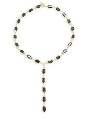 Noir Gold And Black Toggle Necklace Black Gold