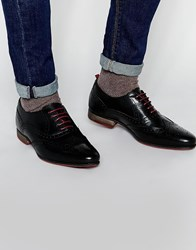 Asos Brogue Shoes In Black Leather With Contrast Sole Black