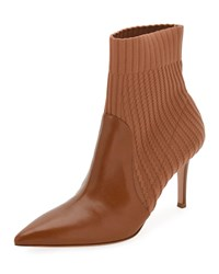 Gianvito Rossi Katie 85 Leather Knit Sock Bootie Saddle
