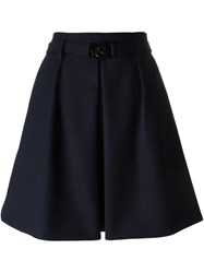 Kenzo Pleated Skater Skirt Blue