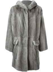 Liska Hooded Mink Fur Coat Grey