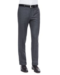 Theory Marlo Windowpane Wool Trousers Charcoal Grey Women's