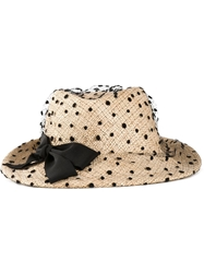 Ca4la Polka Dot Veil Trilby Hat Nude And Neutrals