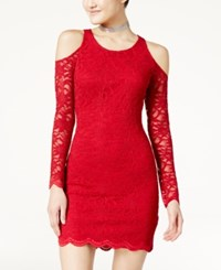 Jump Juniors' Lace Cold Shoulder Bodycon Dress Red