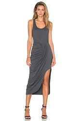 Bobi Relaxed Dress Jersey Asymmetrical Maxi Dress Gray