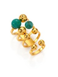 Paula Mendoza Turquoise And 24K Goldplated Brass Band Ring Set Gold Turquoise