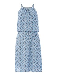Dickins And Jones Tile Print Layer Beach Dress Turquoise