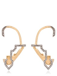 Schield Cyborg Line Sculpture Pave Earrings