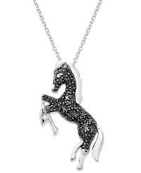 Macy's Sterling Silver Necklace Black Diamond Horse Pendant 1 10 Ct. T.W.