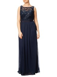 Adrianna Papell Plus Size Sequin Mesh Stretch Tulle Gown Midnight