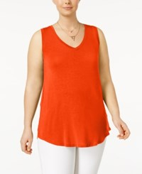 Planet Gold Trendy Plus Size V Neck Tank Top Tomato