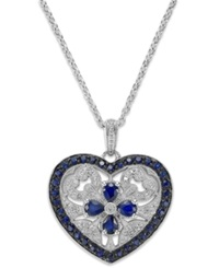 Macy's Sterling Silver Sapphire 1 7 8 Ct. T.W. And Diamond Accent Heart Pendant Necklace