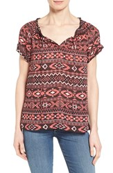 Women's Caslon Cuffed Sleeve Peasant Top Coral Black Aztec Print
