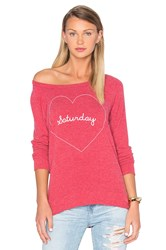 Chaser Saturday Love Sweater Red