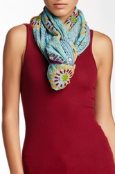 Raj Sequin Embroidered Silk Infinity Scarf Blue