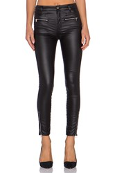 7 For All Mankind High Waist Moto Zip Ankle Skinny Black