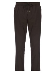 Dolce And Gabbana Wool Cotton Blend Track Pants Navy