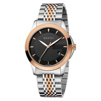 Gucci Men's G Timeless Two Tone Stainless Steel Bracelet Strap Watch Silver Rose Gold