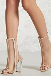 Forever 21 Mesh Lucite Ankle Boots Nude