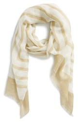 Women's Tory Burch 'Fret Retro T' Scarf Beige