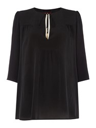 Max Mara Merlot 3 4 Sleeve Silk Blouse With Neck Detail Black