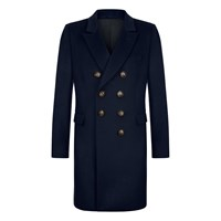 Kumeth Cashmere Coat One And A Half Breasted Navy Black Blue Gold