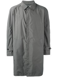 Armani Collezioni Concealed Fastening Raincoat Grey