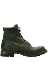 Silvano Sassetti Lace Up Combat Boots Green