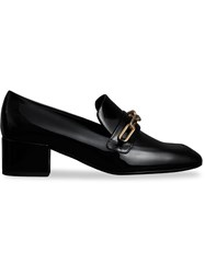 Burberry Link Detail Patent Leather Block Heel Loafers Black