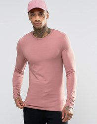 Asos Extreme Muscle Long Sleeve T Shirt With Crew Neck In Pink Pink
