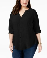 Ny Collection Plus Size Tab Sleeve Blouse Black Multicharm