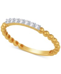 Macy's Diamond Stackable Beaded Band 1 8 Ct. T.W. Yellow Gold
