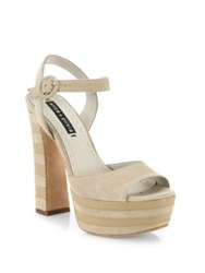 Alice Olivia Liberty Suede And Leather Platform Sandals Light Tan
