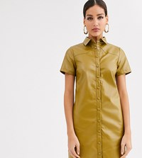 Glamorous Tall Shirt Dress In Soft Faux Leather Green