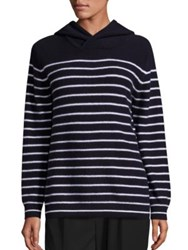 Vince Cashmere Hooded Striped Sweater Coastal Blue