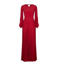 No.21 Long Sleeve Pleated Gown Female Red