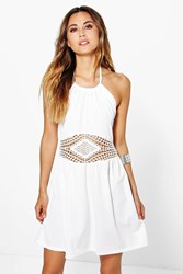 Boohoo Crochet Insert Mini Halterneck Neck Dress Cream