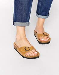 Truffle Collection Strap Slide Flat Sandals Tan
