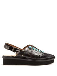 Toga Embellished Point Toe Leather Flats Black
