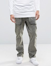Asos Straight Leg Acid Wash Trousers In Light Khaki Washed Light Khaki Green