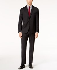 Vince Camuto Men's Coolmax Slim Fit Stretch Black Check Suit