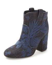 Laurence Dacade Pete Embroidered Wool Ankle Boot Blue Wine Blue Em