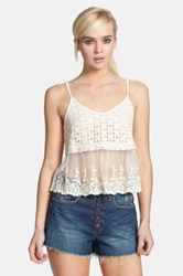 Astr Crochet And Embroidered Mesh Camisole Juniors White
