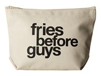 Dogeared Fries Before Guys Lil Zip Black Canvas Cosmetic Case Multi