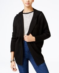 American Rag Lace Up Back Hooded Cardigan Only At Macy's Classic Black