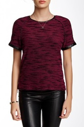 Tart Keely Knit And Faux Leather Blouse Red