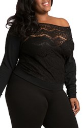 Poetic Justice Plus Size Women's Lace And Ponte Knit Top