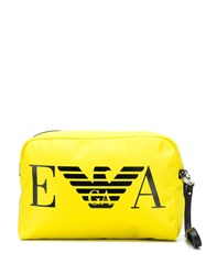 Emporio Armani Branded Leather Look Clutch Bag Yellow