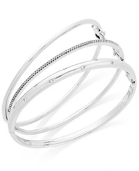 Macy's Diamond 1 4 Ct. T.W. Stackable Trio Bangle Bracelet Set In 14K Gold Plated Sterling Silver White Gold